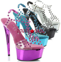 609-Destiny, 6 inch high heel with 1.75 Inch Platform with studds Made by ELLIE Shoes