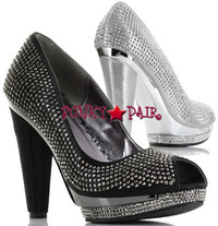 BP461-Avrill, 4 inch high heel peep toe rhinestones pump Made By Bettie Page Shoes
