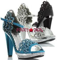 BP461-Lourdes, 4 inch high heel rhinestones scallop Sandal
