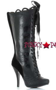 BP423-Morbidia, Knee High Boots with Gris Grimly Applique