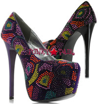 BP607-Harper, 6 Inch High Heel with 2.5 Inch Platform Pump with Multicolor Stones