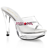 Cocktail-501R, 5 Inch Heel Platform Slide with Rhinestones