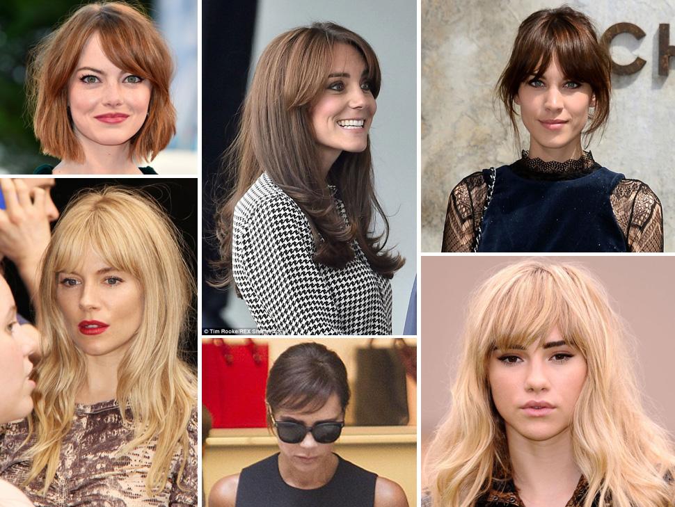 Emma Stone, Kate Middleton, Alexa Chung, Victoria Beckham, Sienna Miller, sporting a fringe