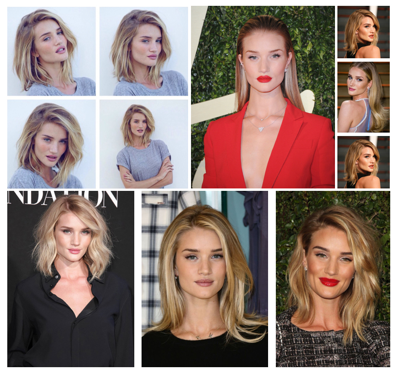 Rosie Huntington-Whitely Various Hairstyles