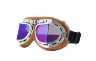 RBG Aviator Goggle in Tan with Chrome trim and Iridescent Mirrored Angled Lens
