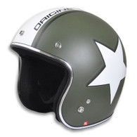 Origine Jet 3/4 DOT Open Face Motorcycle Helmet with Flat Olive Drab Paint and White Army Star