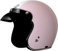 Origine Jet 3/4 DOT Open Face Motorcycle Helmet in Flat Pinkwith White Trim