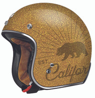 "Torc DOT 3/4 Open-Face Motorcycle Helmet ""Grizzly"" in Gold Flake"