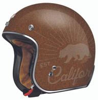 "Torc DOT 3/4 Open-Face Motorcycle Helmet ""Grizzly"" in Rootbeer Flake"