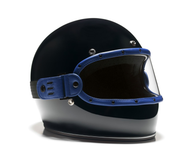 Equilibrialist Knox Maska Visor for Biltwell Gringo Helmets - Blue Trim with Clear Lens