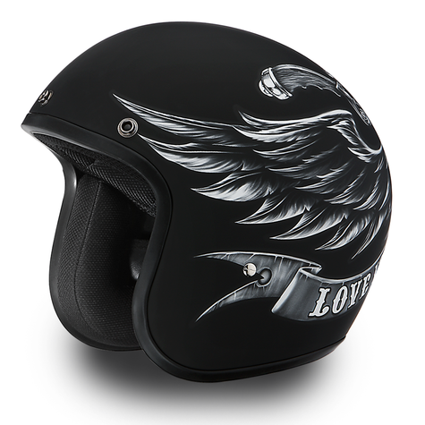 "Daytona Cruiser 3/4 Open Face DOT Motorcycle Helmet with ""Love it/Leave It"" artwork - Overview"