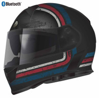 Torc T-14 Full Face Helmet with Blinc Bluetooth with Stream-Line Graphics in Red, White, and Blue - Overview