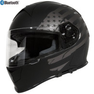Torc T-14 Full Face Helmet with Blinc Bluetooth in Flat Black with Flat Grey US Flag Graphic