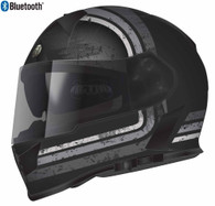 Torc T-14 Full Face Helmet with Blinc Bluetooth with Stream-Line Graphics in Grey