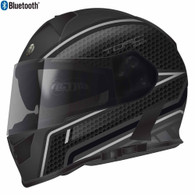 Torc T-14 Full Face Helmet with Blinc Bluetooth with Scramble Graphics in Grey - Overview