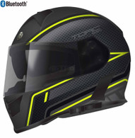 Torc T-14 Full Face Helmet with Blinc Bluetooth with Scramble Graphics in Hi-Viz-Green - Overview