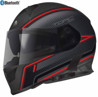 Torc T-14 Full Face Helmet with Blinc Bluetooth with Scramble Graphics in Red - Overview
