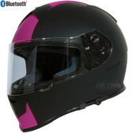 Torc T-14 Full Face Helmet with Blinc Bluetooth with Speed and Style Stripes in Pink - Overview