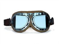 RBG Aviator Goggles in Tan with Chrome trim and Smoke Angled Lens