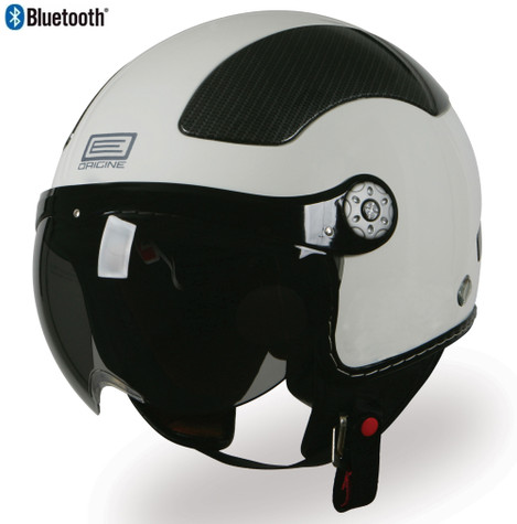 Origine Pilota Jet-Style 3/4 Motorcyle Helmet with Blinc Bluetooth in Gloss White