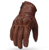 Torc Beverly Hills Leather Motorcycle Gloves in Khaki