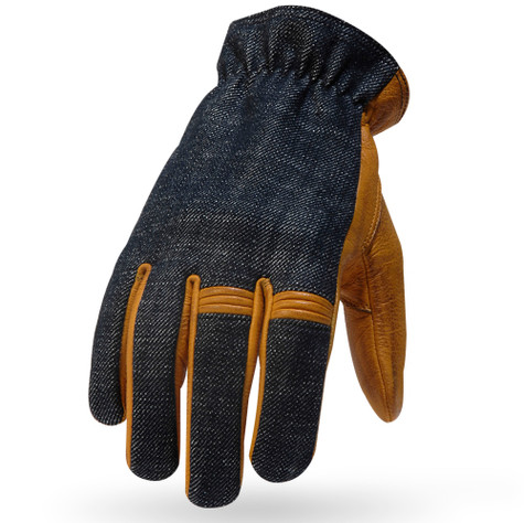 Torc Hollywood Leather/Denim Moto Gloves in Gold