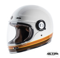 Torc T-1 Retro Full Face Moto Helmet in Iso Bars Finish - Left Side