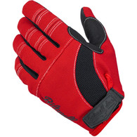 Biltwell Moto Gloves in Red/Black with White Trim - Top