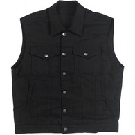 Biltwell Prime Cut Denim Collared Vest - Black