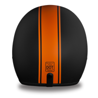 Daytona Cruiser 3/4 Open Face D.O.T. Helmet in Flat Black w/Orange Pinstripe - Rear