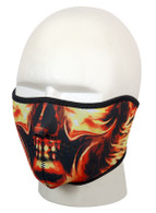 Daytona Half Face Mask in Skull with Flames.