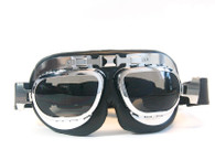 Large Aviator Goggles in Black/Chrome with Smoke Lenses.