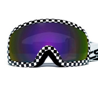 RBG Moto Goggles in Checkered Flag pattern with Iridescent Smoke Lenses.