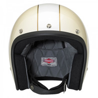 Biltwell Bonanza 3/4 DOT-Approved Motorcycle Helmet in Limited Edition Racer Finish - Vintage Gloss White.