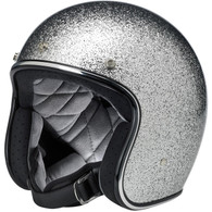 Biltwell Bonanza 3/4 DOT-Approved Motorcycle Helmet in Brite Silver Megaflake - Left Overview
