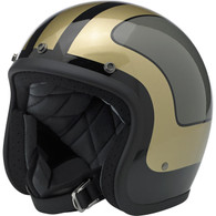 Biltwell Bonanza 3/4 DOT-Approved Motorcycle Helmet in Limited Edition Fury Gloss Black/Grey/Gold - Overview