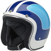 Biltwell Bonanza 3/4 DOT-Approved Motorcycle Helmet in Limited Edition Fury Gloss White/Blue - Overview