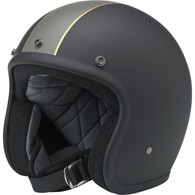 Biltwell Bonanza 3/4 DOT-Approved Motorcycle Helmet in Limited Edition Racer Flat Black/Grey/Gold - Overview