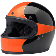 Biltwell Gringo Full Face Helmet in Black and Orange Scallop design - Overview