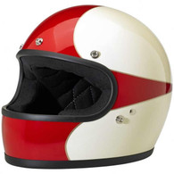 Biltwell Gringo Full Face Helmet in White and Red Scallop Design - Overview