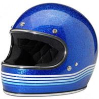 Biltwell Gringo Full Face Helmet in Blue Metalflake with Spectrum design - Overview