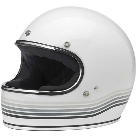 Biltwell Gringo Full Face Helmet with Spectrum Design in Gloss White - Overview