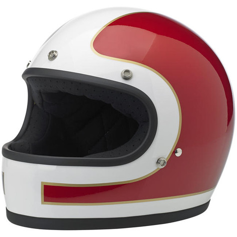 Biltwell Gringo Full Face Helmet with Tracker design in Red, White, and Blue - Front Left