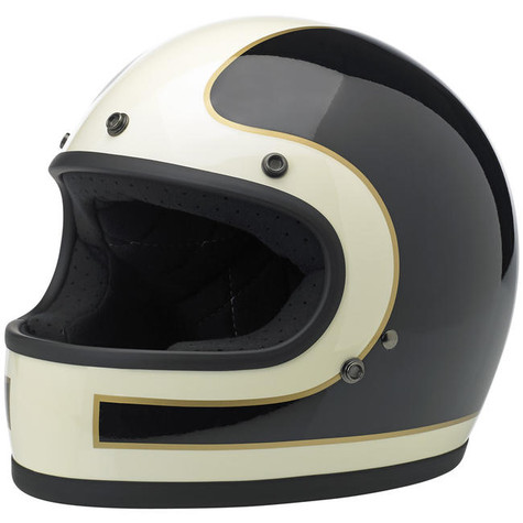 Biltwell Gringo Full Face Helmet with Tracker design in White, Black and Gold - Overview