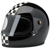 Biltwell Gringo-S full face helmet with visor in Gloss Black with Checkered stripe - Overview