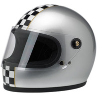 Biltwell Gringo-S Full Face helmet with visor in Metallic Silver with Checkered Stripe - Overview