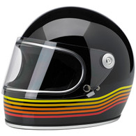 Biltwell Gringo-S Full Face Helmet with Visor in Gloss Black with Spectrum design - Overview