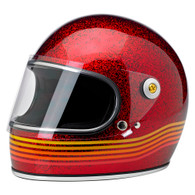 Biltwell Gringo-S Full Face DOT Helmet in Wine Megaflake with Spectrum design - Overview