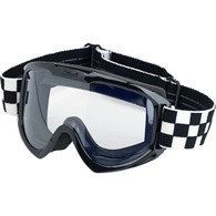 Biltwell Moto Motorcycle Goggles in Checkers finish - Front