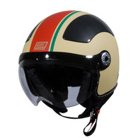 Origine Pilota Jet-Style 3/4 Motorcycle Helmet in Flat Cream/Red Stripe